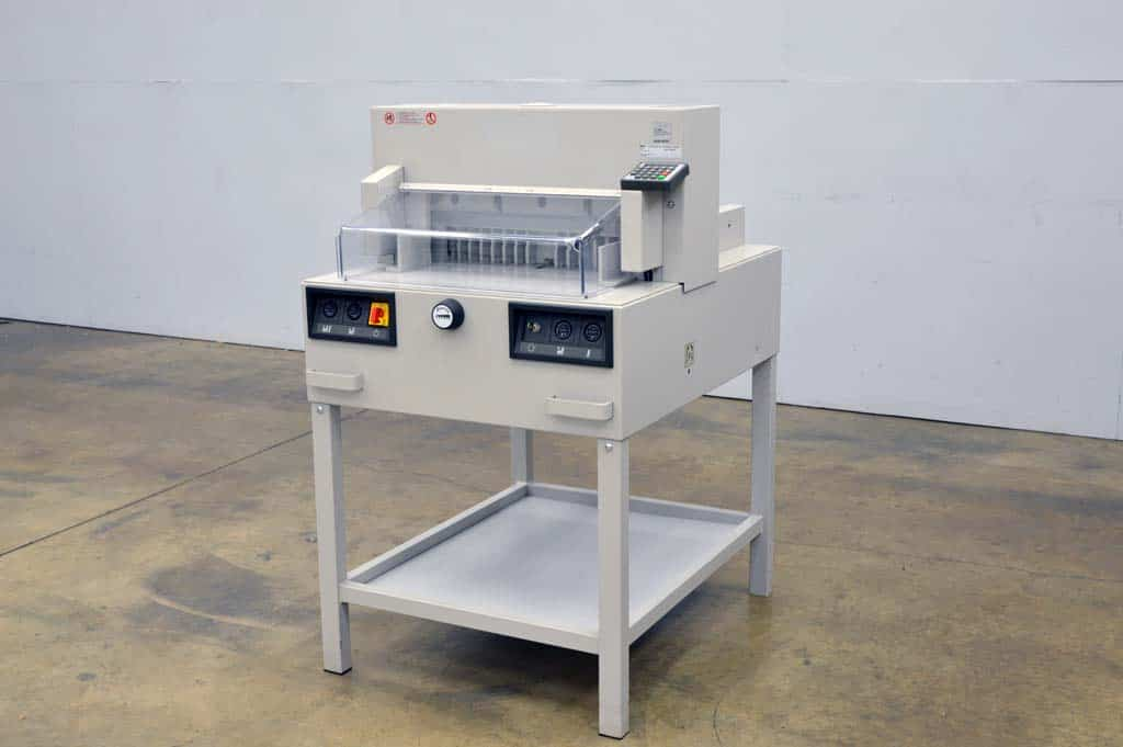triumph paper cutter The triumph 1110 paper cutter from mbm is a guillotine-style heavy duty floor  model paper trimmer with a 20 sheet capacity and 43 1/4 cutting length.