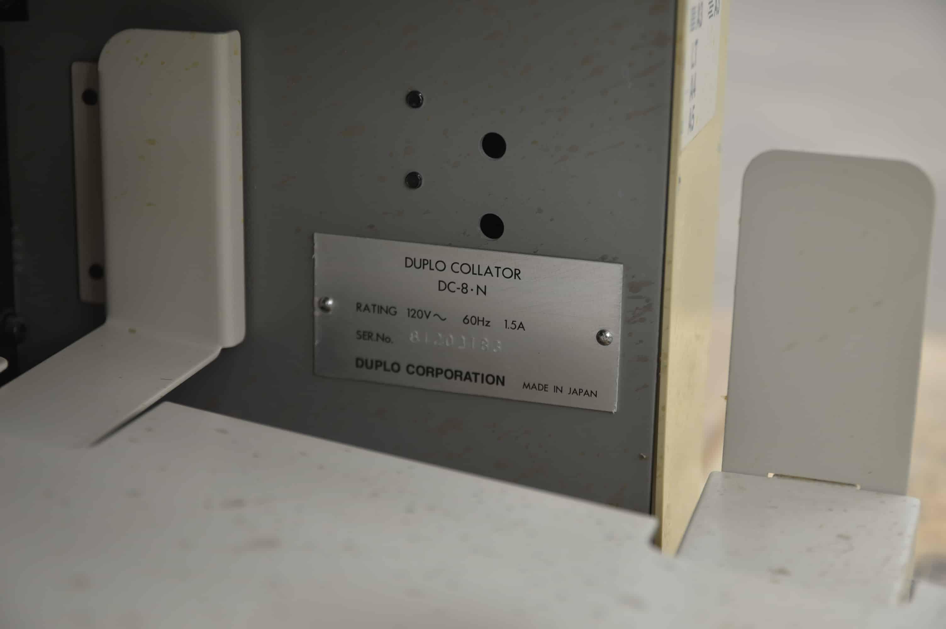 Duplo Dc 8 Mini Simple Operation Collator Boggs Equipment