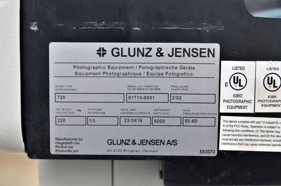 2002 Glunz & Jensen Multiline 720 Film Processor