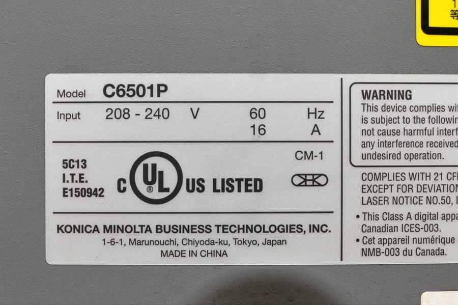 Konica Minolta Bizhub Pro C6501P Color Copier