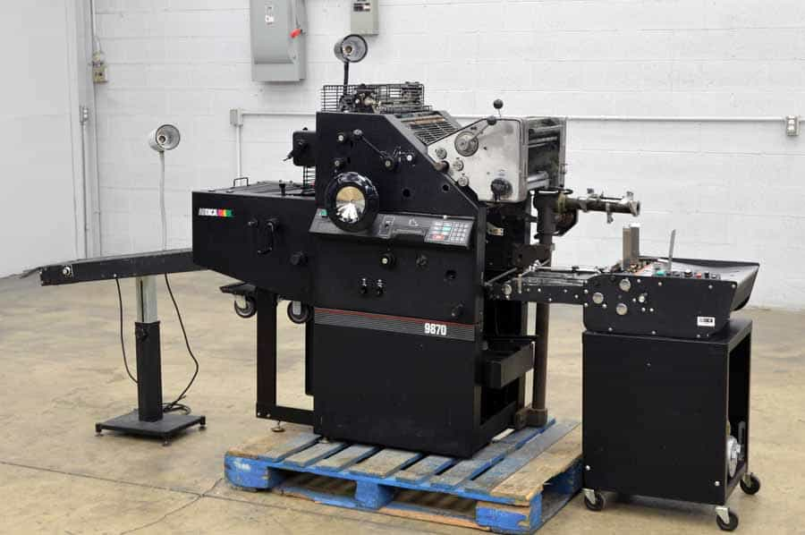 AB Dick 9870 Offset Press with T-51 2nd Color Unit and ABDick 1200 Feeder
