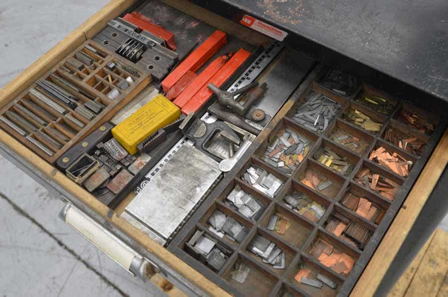 Hamilton Type Cabinet with Assorted Letterpress Accessories