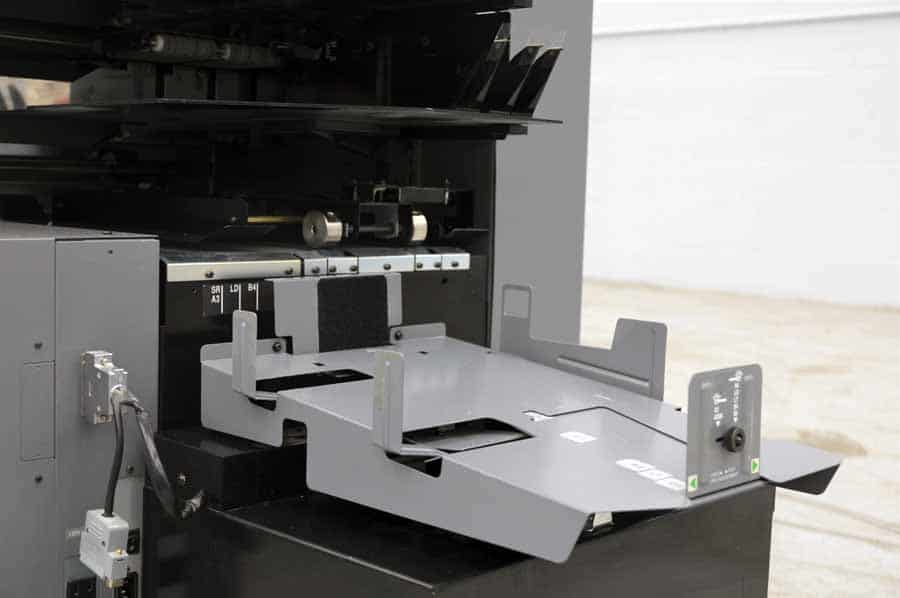 Duplo 4000 Booklet Making System w/ Two 10 Bin Vacuum Collating Towers, Stitch, Fold, Trim, and Book Pressing Unit