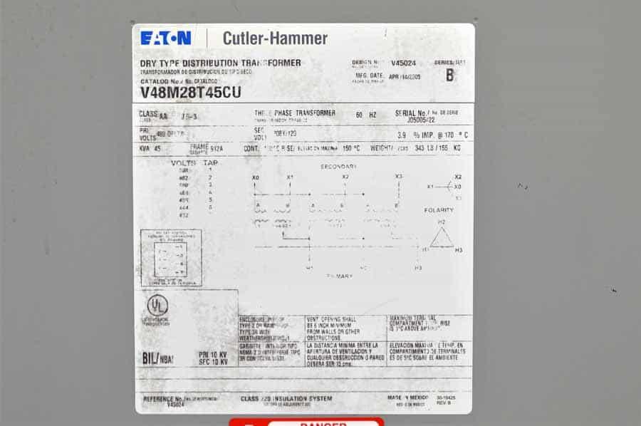 Eaton General Purpose Transformer 60Hz 3 Ph 45 KVA