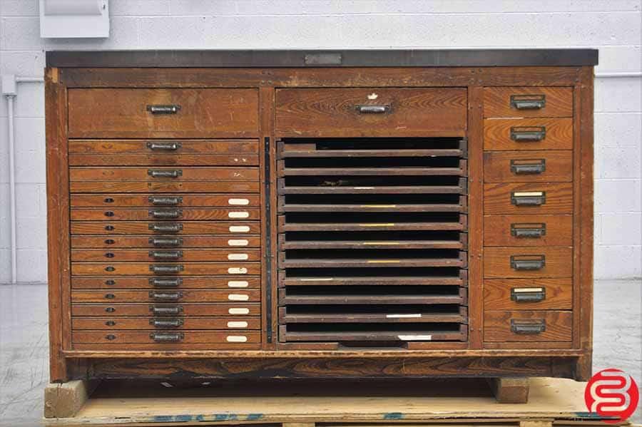 Hamilton Letterpress Cabinet w/ Composing Stone and Assorted Letterpress Supplies