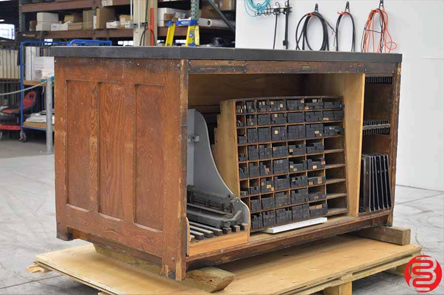 Hamilton Letterpress Cabinet w/ Composing Stone and Assorted Letterpress Supplies