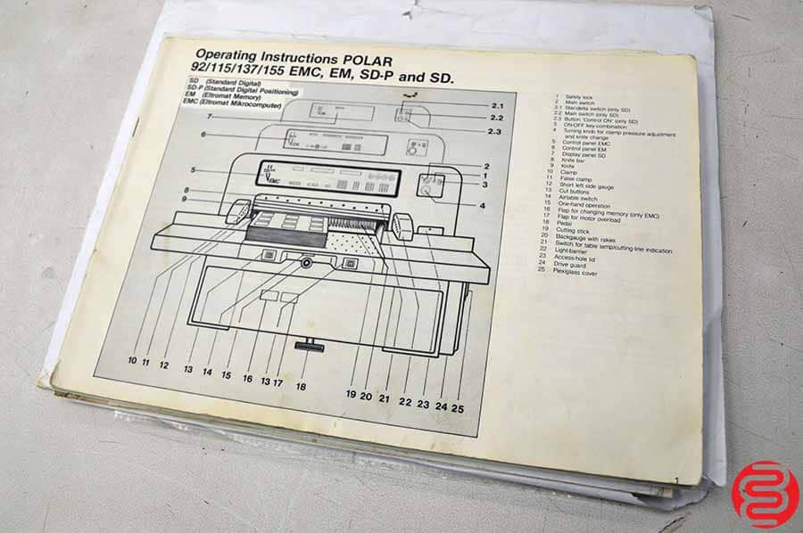"1985 Polar 92 EM Programmable 36"" Paper Cutter with Air Bed"