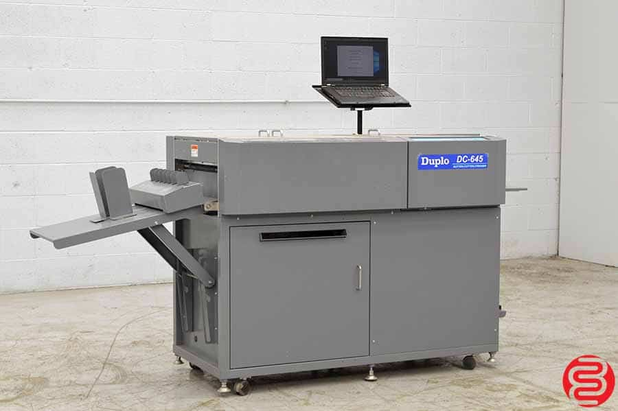 2007 Duplo DC-645 Heavy Duty Slitter Cutter Creaser with Business Card Module, Gutter Cutter and Imposition Setup Laptop