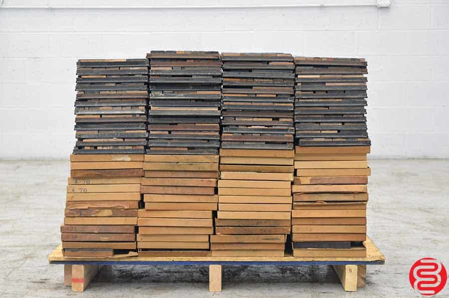 204 Galleys of Block Print, Furniture Cabinet w/ Assorted Wood Furniture