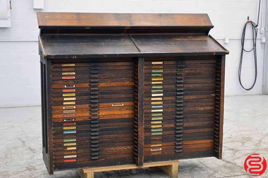 Hamilton Letterpress Type Cabinet W Some California Job