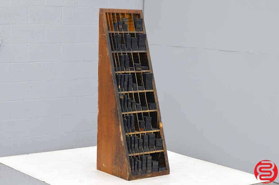 Letterpress Furniture Cabinet w/ Assorted Wood Furniture