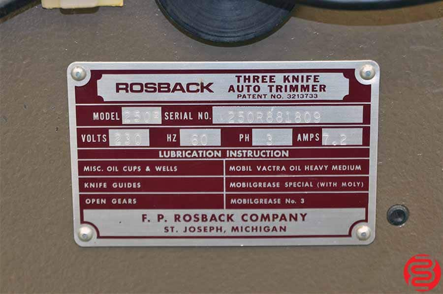 Rosback 250R Three Knife Trimmer