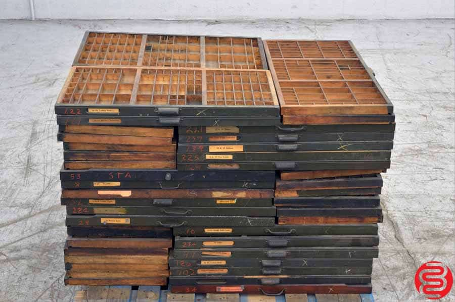 Assorted Letterpress Type Cabinet Drawers - Qty 61