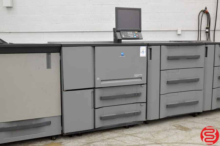 Konica Minolta Bizhub PRO 1200P Monochrome Digital Press w/ Two Feed Units, Relay Unit, Perfect Bind Unit, Booklet Making Unit, Two Stapling Units, and GBC Punching Unit
