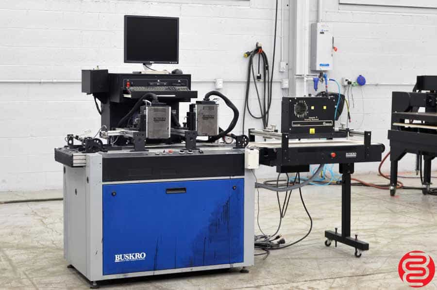 2006 Buskro BK 700 Inkjet System w/ Two Atlas Printing Heads, Compose IQ Software, Dryer