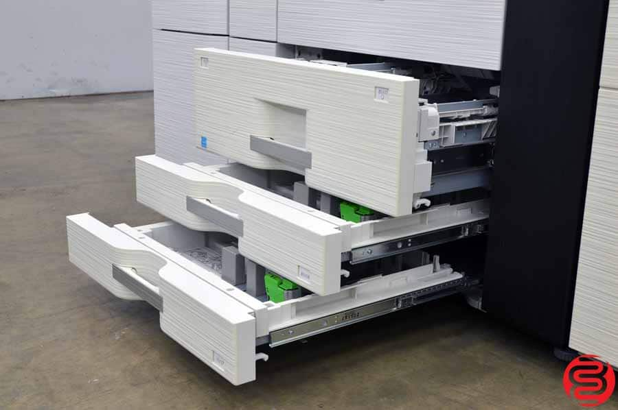 2012 Sharp MX-M1204 Monochrome Digital Press w/ Large Capacity Tray, 500 Sheet Multi Bypass, Curl Correction Unit, and 100 Sheet Staple Stacking Finishing