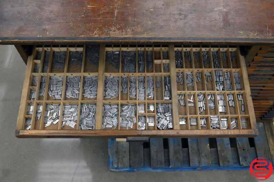 Hamilton Letterpress Type Cabinet w/ Assorted Lead Type