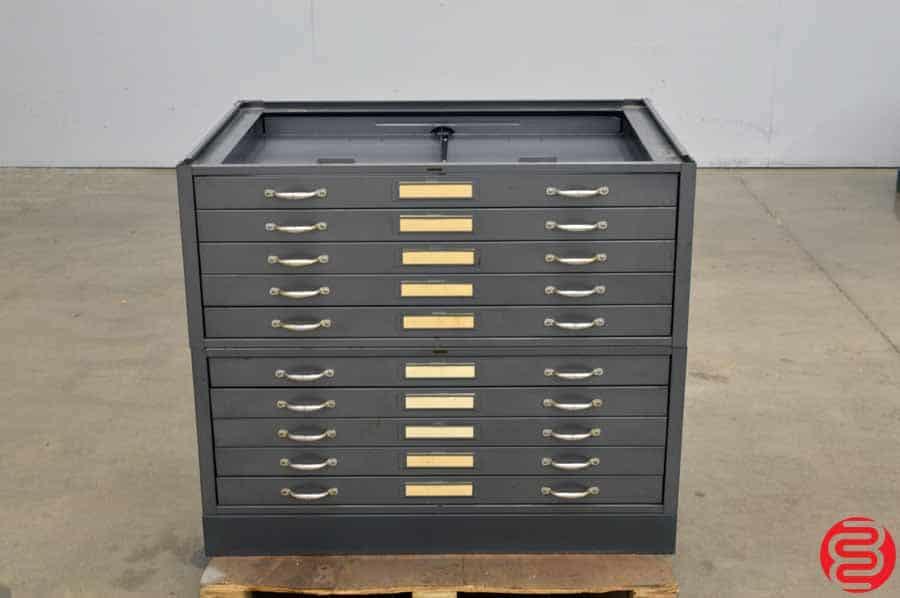 Hamilton Metal Flat Filing Cabinet - 10 Drawers