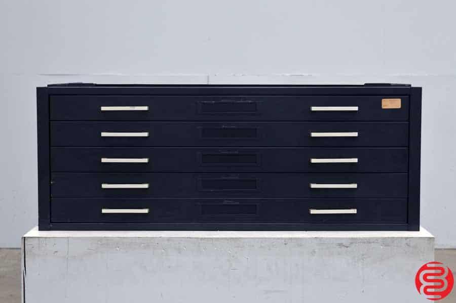 Metal Flat Filing Cabinet - 5 Drawers