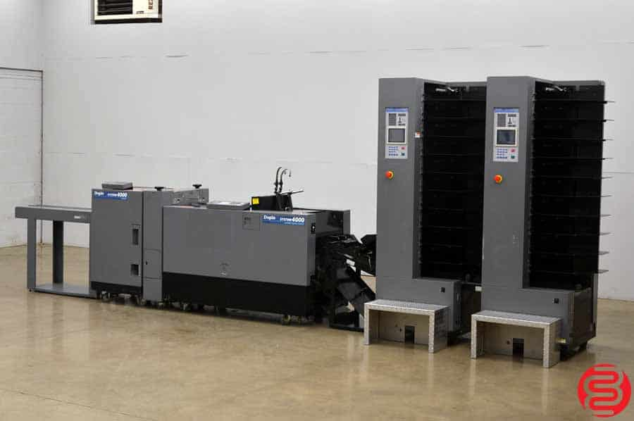 Duplo System 4000 20 Bin Booklet Making System w/ Stitcher, Folder, Trimmer, and Lifting Unit
