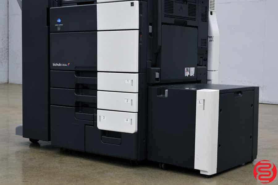2013 Konica Minolta Bizhub C654e Color Digital Press w/ Finisher and High Capacity Tray