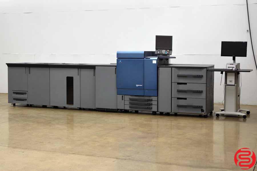 2011 Konica Minolta C8000 Bizhub Digital Press w/ Relay Unit, 2nd Fuser Unit, Large Capacity Stacker, Saddle Stitch Unit, and Fiery Print Server