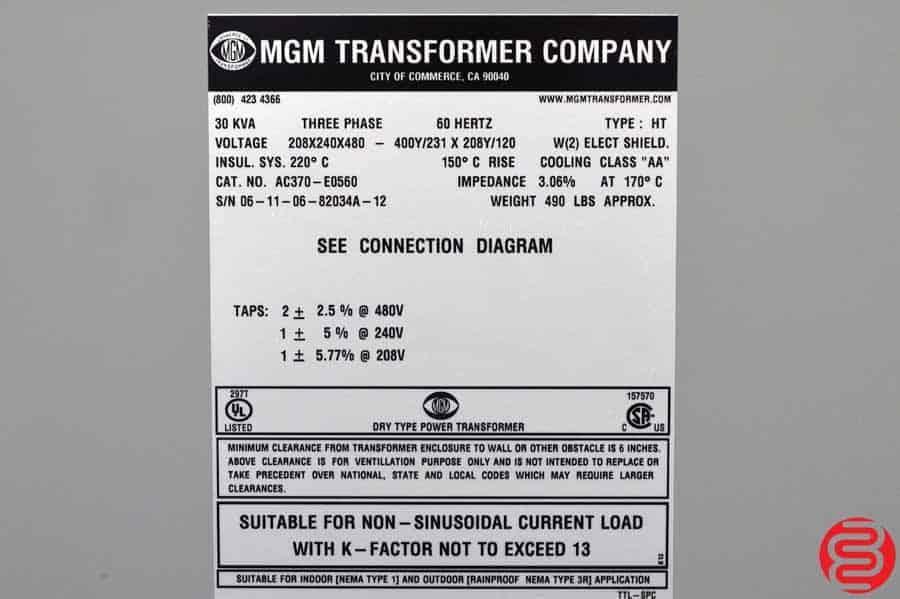 MGM HT 30 KVA 3 Phase Transformer