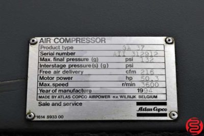 Atlas Copco GA 37 Oil Injected Rotary Screw Air Compressor