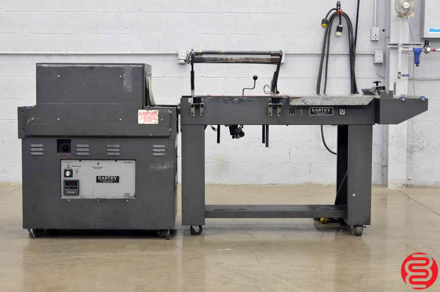 1995 Eastey 16 x 22 Automatic Shrink Wrap System w/ Magnetic Hold Down, Power Take Away, and Exit Conveyor