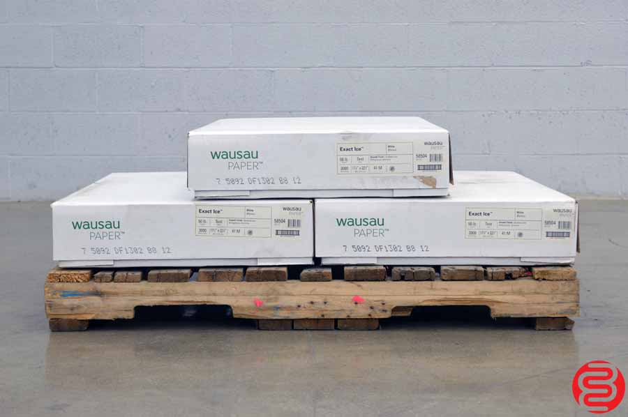 Wausau Exact Ice Smooth Finish White 50 lb 17 1/2 x 22 1/2 Paper - Qty 3 Cases