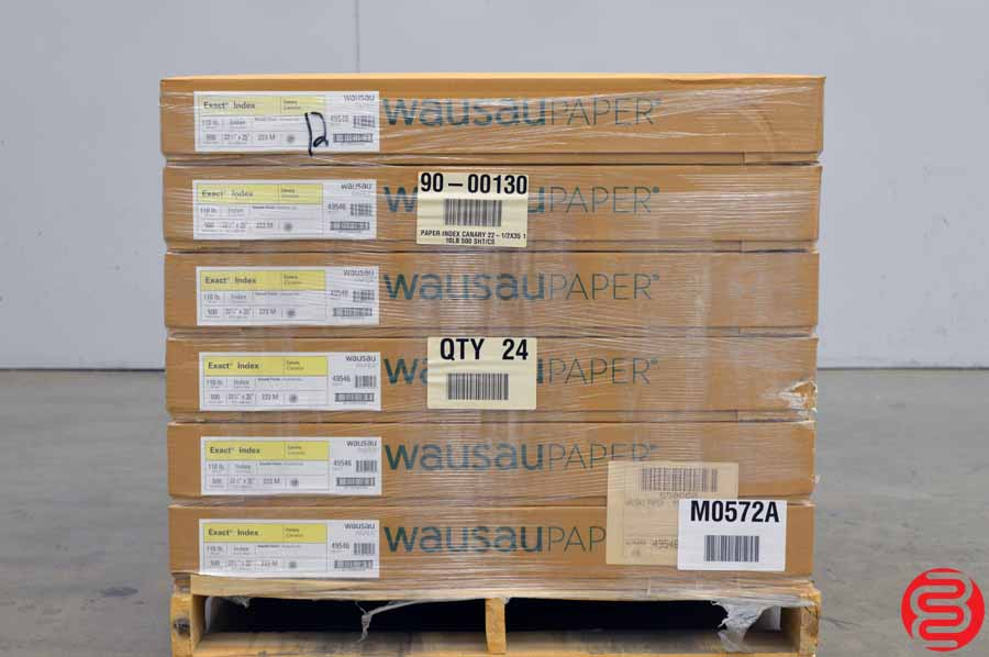 Wausau Exact Index Canary 110 lb 22 1/2 x 35 Paper - Qty 12 Cases