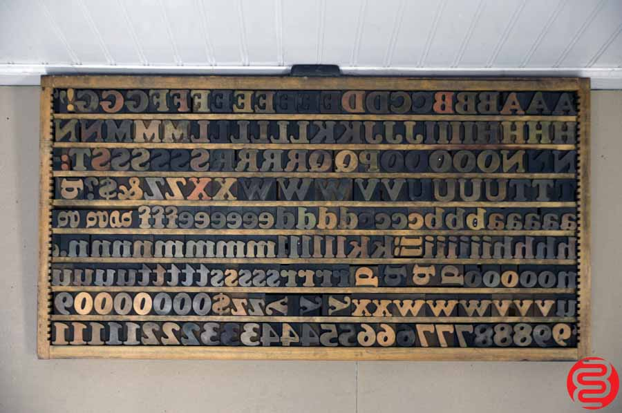 Wood Type Font Letterpress Caps and Lowercase – 18 line – 1.5″