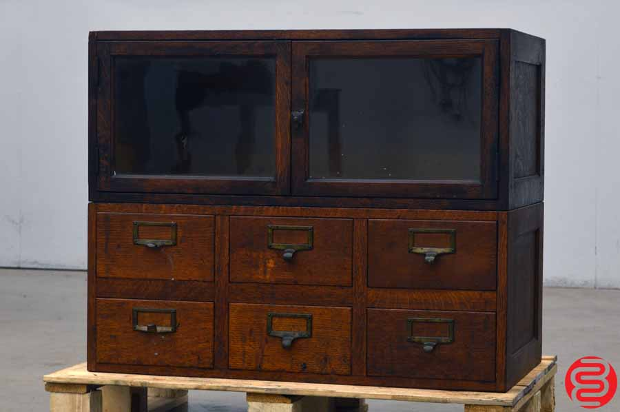 Antique Cabinet - Six Drawers and Glass Doors