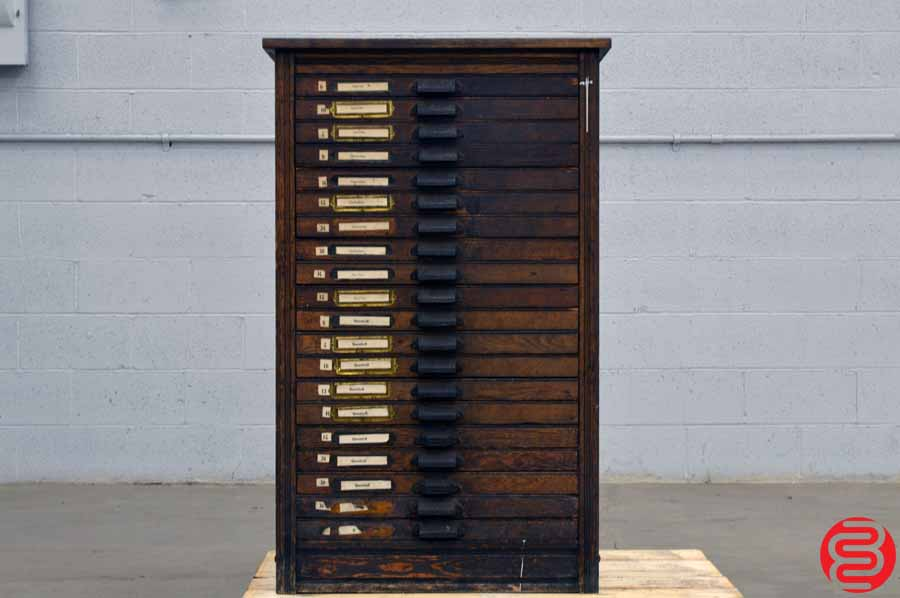 Hamilton Letterpress Type Cabinet - 20 Drawer - Over 100 Years Old