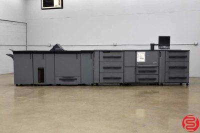 2012 Konica Minolta Bizhub PRO 1200P Monochrome Digital Press w/ Feed Unit, Relay Unit, Booklet Making Unit, Perfect Bind Unit and Stapling Unit