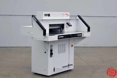 """2014 Triumph Ideal 5560 Hydraulic Programmable 21"""" Paper Cutter w/ Safety Lights, Side Tables, and Air Table"""