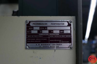 Rosback 240 Pile Feed Perf Slit Score Machine - 111119113256