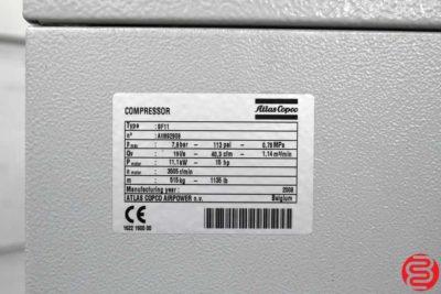 2008 Atlas Copco SF11 Rotary Screw Air Compressor - 010820091220
