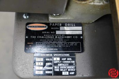 Challenge JF Single Spindle Hydraulic Paper Drill - 012820105200