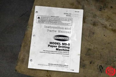 Challenge MS-5 Three Spindle Hydraulic Paper Drill - 010820030725