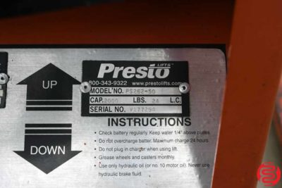 Presto PS262-50 Power Lift Straddle Stacker - 031220123255