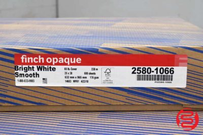 Finch Opaque Bright White Smooth 25 x 38 65 lb Cover Paper - 3 Cases - 0604720081600