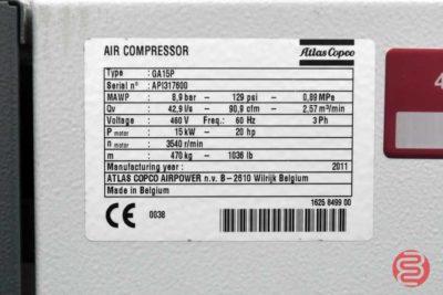 2011 Atlas Copco GA15 Air Compressor - 111120113120