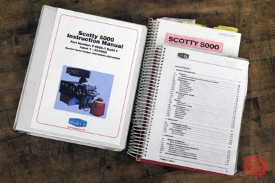 """Model: Scotty 5000 Speed: Over 6000 tabs cut per hour Up to 4200 tabs laminated and cut per hour Sheet Size: 355.6 mm x 342.9 mm (14"""" x 13 1/2"""") maximum* 127 mm x 127 mm (5"""" x 5"""") minimum Plastic Size: 139. 7 mm (5 1/2"""") maximum 25.4 mm (l"""") minimum Tab Cut Size: 127 mm (5"""") maximum 12.7 mm (1/2"""") minimum Paper Load: Approximately 2000 sheets Counter: 1 - 999999 Motor: 1 Horse Power Electrical Requirements: 30 Amps, 220 v single phase, 50 or60Hz Air Requirements: 85 P.S.I. Dimensions: L-80"""" W- 50"""" H-60"""" Shipping Weight: 2000 lbs (910 l"""
